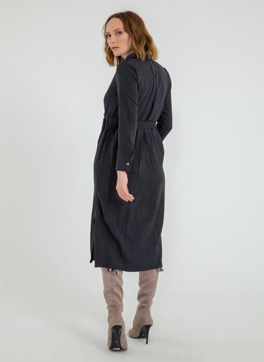Foremia Yanı Yırtmaçlı Ceket Yaka Elbise Siyah